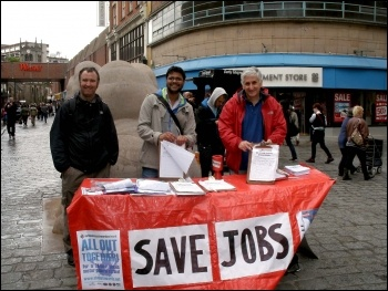 Socialist Party stall - campaigning to save jobs in Derby, Photo Andrew Walton