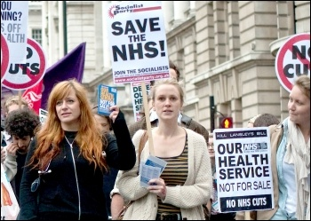 Marching against NHS cuts and privatisation , photo by Paul Mattsson
