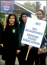 School students and teachers protest against academies at Tile Hill Wood school in Coventry, photo Coventry Socialist Party , photo by  Coventry Socialist Party