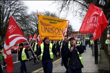 Southampton council workers marching against cuts, photo Southampton SP