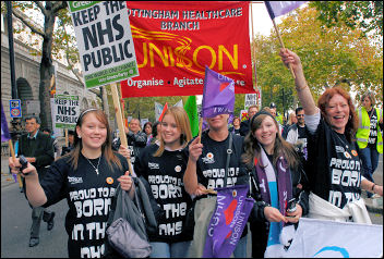 Keep the NHS public! On the 'Save the NHS' march, 3 November 2007 , photo Paul Mattsson
