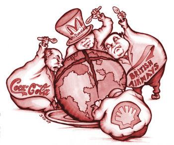 Multinationals devour the globe. Cartoon by Suz, www.squashdonkey.co.uk
