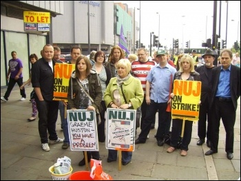 Support demo for NUJ strikers at South Yorkshire Newspapers, 6.8.11, photo Alistair Tice