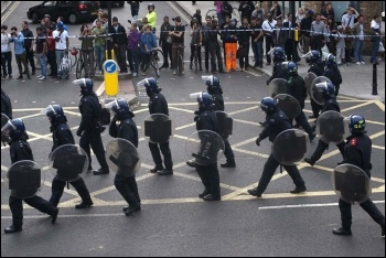 Riot police in Hackney, August 2011, photo Paul Mattsson
