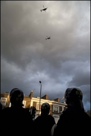 Police helicopters over Hackney riots, August 2011, photo Paul Mattsson
