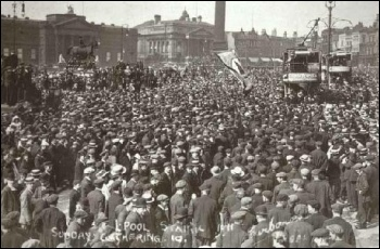 Strikers gather in Liverpool's Lime Street surrounding trams during 'Red Sunday' on 13th August 1911, photo Liverpool Record Office, Liverpool Libraries