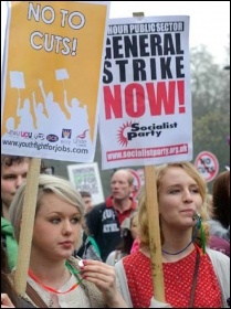For a 24 hour public sector general strike now - Socialist Party placard on demo, photo Paul Mattsson