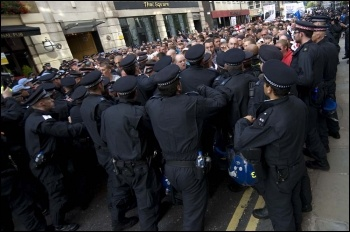 Police surrounding the EDL, London, 3.9.11