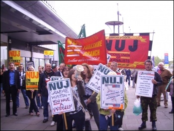 Doncaster demo during SYN journalists' strike, photo Alistair Tice