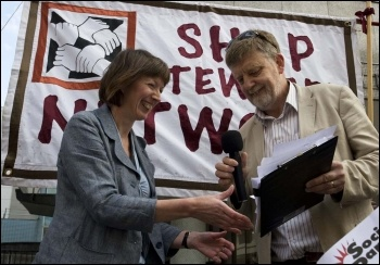 Dave Nellist handing NSSN petition to  Frances O'Grady at Congress House, 11 Sept 2011, photo Paul Mattsson