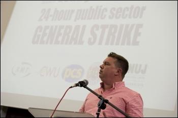 Alex Gordon, president RMT, addresses the National Shop Stewards Network lobby of the TUC 11 September 2011, photo Paul Mattsson