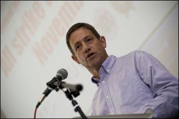 Martin Powell-Davies, NUT NEC, addresses National Shop Stewards Network lobby of the TUC 11 September 2011, photo Paul Mattsson