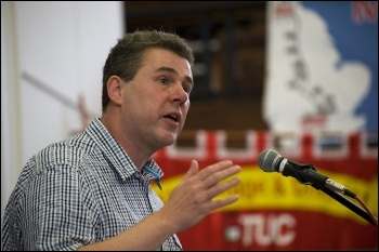 Mark Serwotka, PCS general secretary, addresses National Shop Stewards Network lobby of the TUC 11 September 2011, photo Paul Mattsson