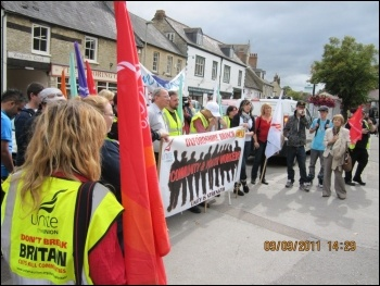 Youth workers' strike and lobby, Witney, 9.9.11, photo John Gilman