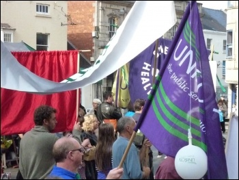 Demo against NHS privatisation, Stroud, 24.9.11, Chris Lamb