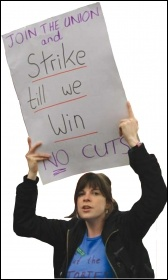Join the union and strike till we win - no cuts - placard, photo Paul Mattsson