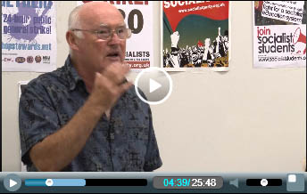 Peter Taaffe addresses the London Socialist Party meeting