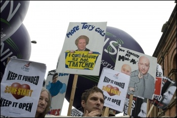 Demonstration at start of Tory Party conference, 2.10.11, photo Paul Mattsson