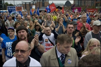 TUC demo in Manchester at start of Tory Party conference, 2.10.11, photo Paul Mattsson