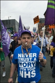 TUC protest at the Tory Party conference, photo Paul Mattsson