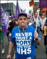 TUC protest outside Tory Party conference, photo by Paul Mattsson