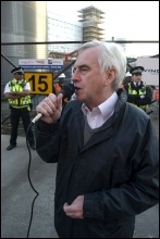 John McDonnell MP addresses the protest, photo Paul Mattsson