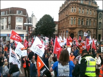 700 strong march in Hull with Youth Fight for Jobs Jarrow Marchers and workers from BAE in Brough, photo Paul Callanan