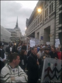 Electricians protesting on 12.10.11 at Blackfriars, London, photo Rob Williams
