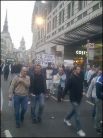 Electricians and supporters marching in London, 12.10.11, Rob Williams