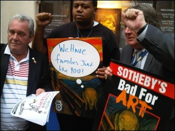 Locked out Sotheby's worker with Unite's AGS Tony Burke (right) and EC member Dave Mathieson, photo Kevin Parslow