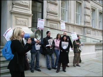 Protesting outside the Kazakhstan Business Forum, London, 20.10.11, photo Naomi Byron
