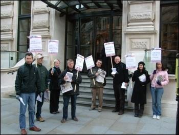 Protesting outside the Kazakhstan Business Forum, London, 20.10.11, Naomi Byron