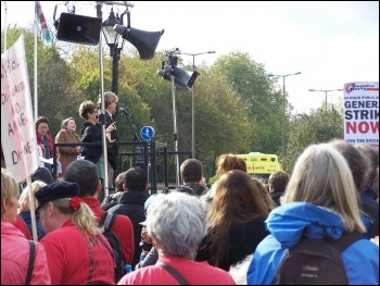 Boyd Clack speaking at Hardest Hit demo, Cardiff, 22.10.11, Cardiff Socialist Party