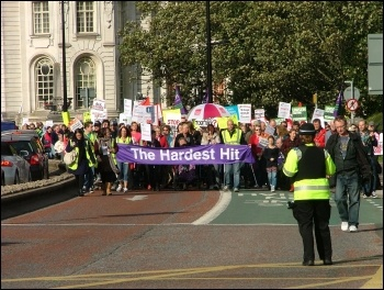 Hardest Hit demo, Cardiff, 22.10.11, photo Cardiff Socialist Party