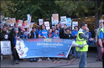 Youth Fight for Jobs Jarrow marchers arrive in Coventry, photo by Lenny Shail