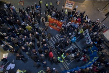 Electrician construction workers: protest at Cannon Street, London , photo Paul Mattsson