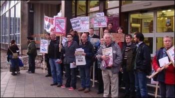 Protesting against Devon county council's sham consultation in 2018, photo Exeter Socialist Party