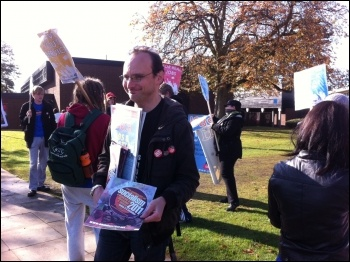 Protest at Northampton university against staff cuts and closure of philosophy department, photo Sarah Sachs Eldridge