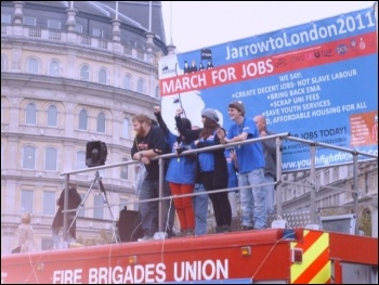 Jarrow marchers on the FBU stage, Trafalgar Square, 5.11.11