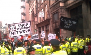 Construction workers' demonstration 9 November 2011, London, photo Neil Cafferky