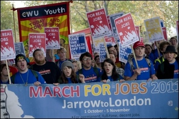Young workers and trade unionists marching for jobs, photo Paul Mattsson