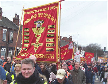 Demonstration in support of the Burslem 12 victimised postal workers, photo Stoke Socialist Party