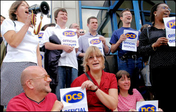 PCS workers on strike. Mark Serwotka, (top row, third from left) joins strikers, photo Paul Mattsson