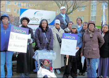 Unique Care workers on strike against management bullying and harrassment, photo Huddersfield SP