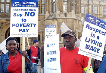 TGWU cleaners demonstrating against low pay, photo Molly Cooper