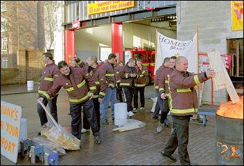 Fire Brigades Union on strike in 2002, photo credit Paul Mattsson