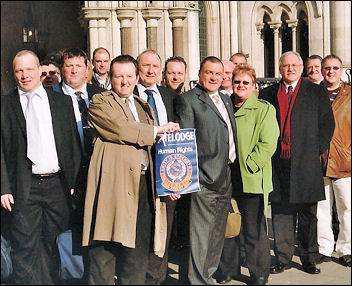 Prison Officers Association protest outside the Royal Court of Justice, joined by Brian Caton, POA general secretary, photo Keith Dickinson