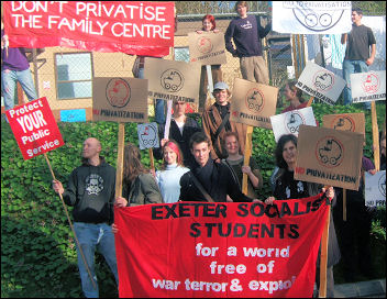 Exeter Socialist Students organised a protest outside the office of the university vice-chancellor, photo Exeter Socialist Students