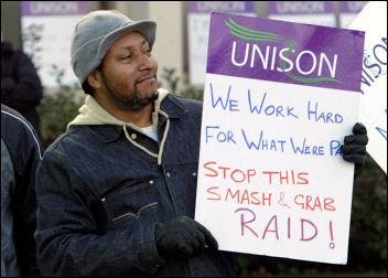 Birmingham council workers strike on 5 February 2008. Photo S O