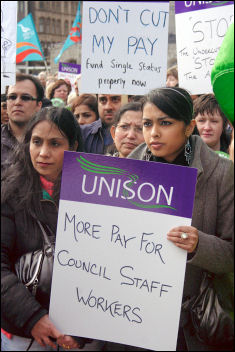 Public services are crumbling, schooll class sizes are growing, and many public-sector workers face a pay freeze. Birmingham council workers strike on 5 February 2008, photo S O